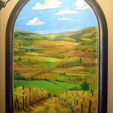 Window painted to see Wine Country Vineyard
