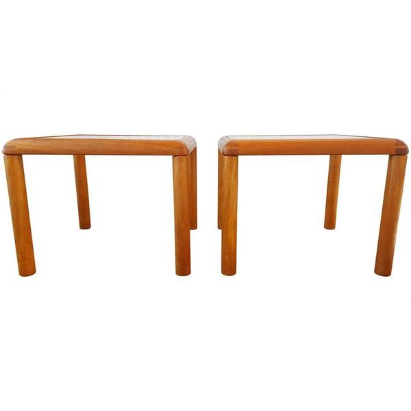 Pair Of Teak And Glass End Tables By D Scan Mid Century Modern Danish Modern Antiques