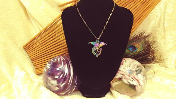 Rainbow Dragon pendant, rainbow chain, & Unopened Oyster with a Pearl