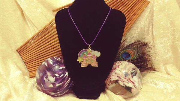 Cute Kawaii Castle Glitter Resin Pendant on Purple Cord