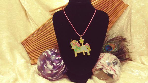Cute Kawaii Unicorn Carousel Glitter Resin Pendant on Pink Cord