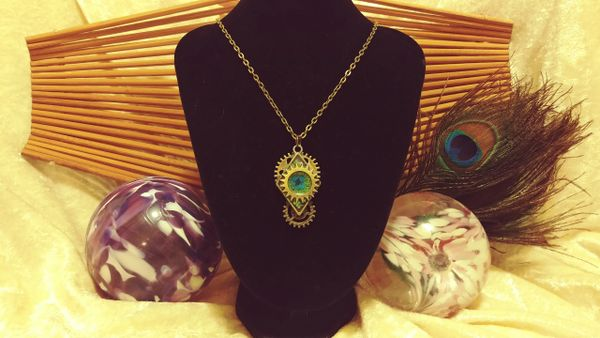 Blue Flower, Green Burst, Triple Cogs, Diamond Resin Pendant