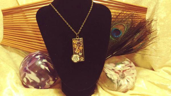 Silver Rose(bl), Silver Key(ur), White Butterfly, Tall Resin Pendant