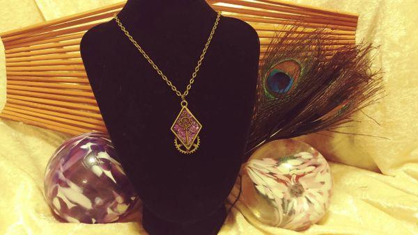 Purple Burst, Brass Key, Diamond Resin Pendant