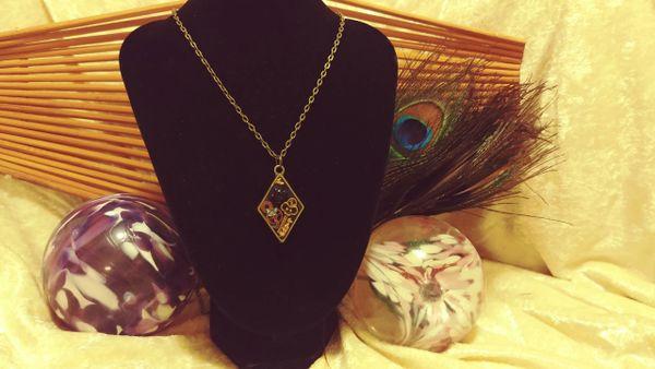 Black Rose, Brass Key, Purple Butterfly, Diamond Resin Pendant