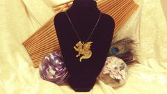 Red Dragon with Gold Glitter Pendant