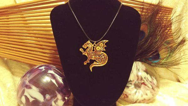 Pink Gold Steampunk Celestial Dragon Pendant