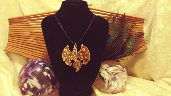 Pink Gold Steampunk Celestial Phoenix Pendant