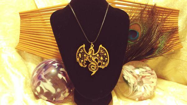 Gold Celestial Phoenix Pendant