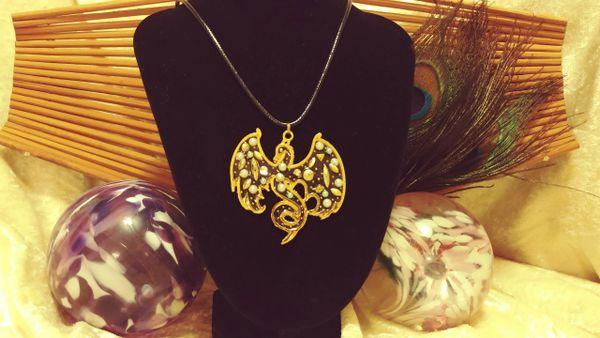 Gold Pearl and Gem Phoenix Pendant