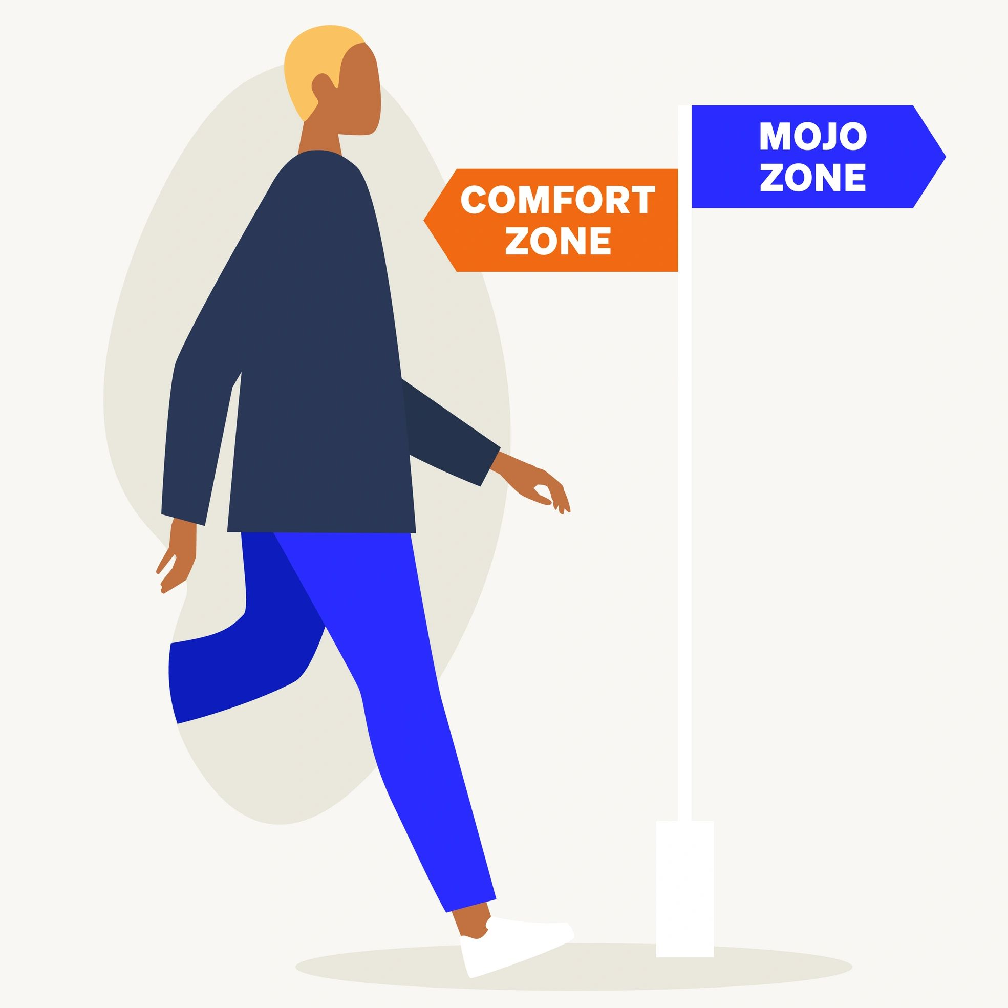 Man in blue trousers stepping from his comfort zone into the Mojo personal growth zone