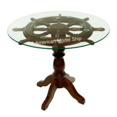 "Nautical Ship Wheel Coffee Table with Glass Top 28"" - MS1985008"