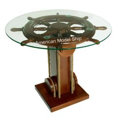 "Nautical Ship Wheel Coffee Table with Glass Top 28"" - MS1985001"