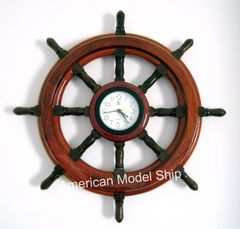 Ship Sheel with Clock 16""