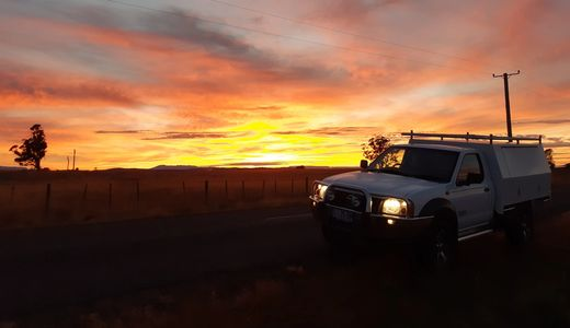My Service Ute and a Beautiful Tassie sunrise on my way to Bell Bay.