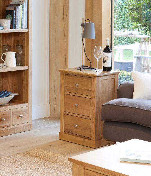 mobel oak fully assembled solid oak three drawer lamp table from baumhaus