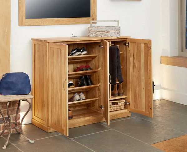 baumhaus mobel solid oak fully assembled xtra large shoe cupboard kingfisher furniture
