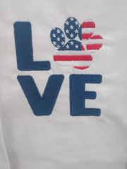 LOVE with Paw Print - Embroidered Kitchen Towel