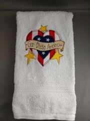 God Bless America - Embroidered Hand Towel