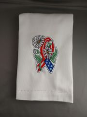Ribon of Hope - America - Embroidered Hand Towel