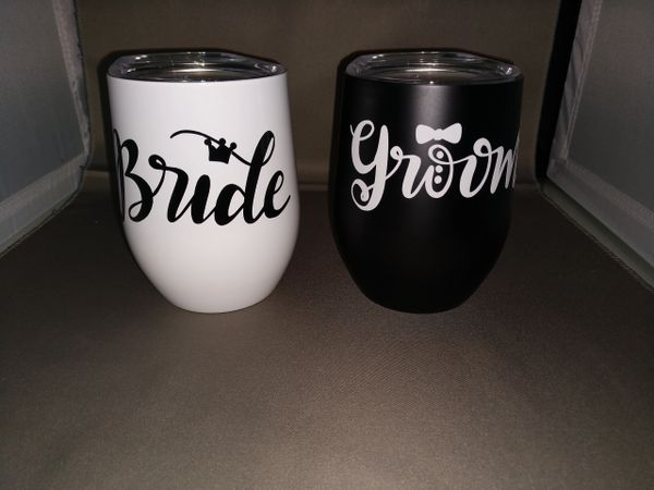 Bride and Groom Set of 2 Stainless Steel Thermal Cups