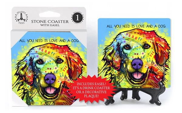 "Dean Russo Golden Retriever ""All you need is love and a dog"" Absorbent stone coaster 1-pack with easel"