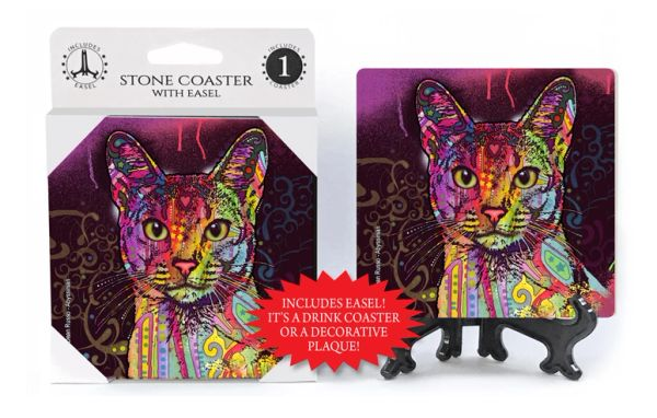 Dean Russo Abyssinian Cat Absorbent Stone Coaster 1-Pack with Easel