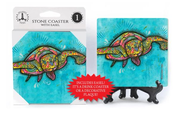 Dean Russo Sea Turtle Absorbent Stone Coaster 1-Pack with Easel