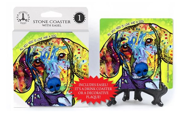 Dean Russo Dachshund Absorbent Stone Coaster 1-Pack with Easel- All You Need is Love and a Dog