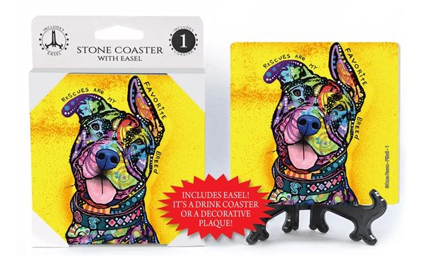 Dean Russo Rescues Are My Favorite Breed Stone Coaster with Easel - Pittbull Picture