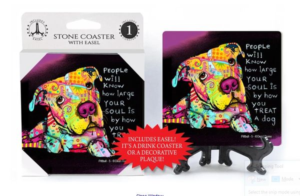 People Will Know How Large Your Soul Is By How You Treat A Dog Stone Coaster by Dean Russo
