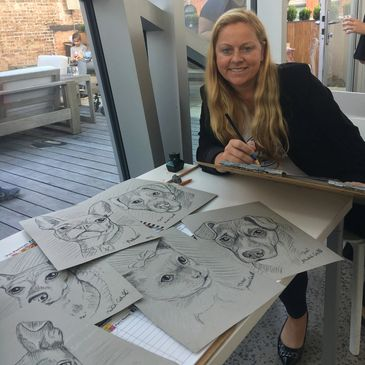Michele Cahill - Artist Founder Pet Portrait Fun - Live sketching