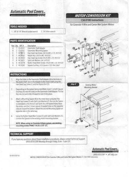 Coverstar motor conversion kit CSK-0180