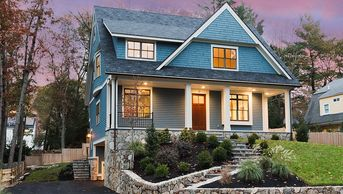 Avon-Contemporary-Shingle Style-Exterior-Oversize Mahogany Door-Stone Wall-Box Bay Window