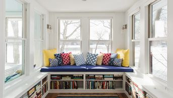 Interior-Reading Nook-Custom Built Bench & Bookshelves-Natural Light