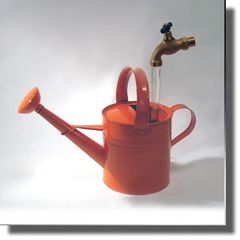 Medium Orange Watering Can Floating Faucet Fountain