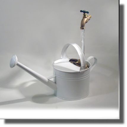 Long Neck White Watering Can Fountain