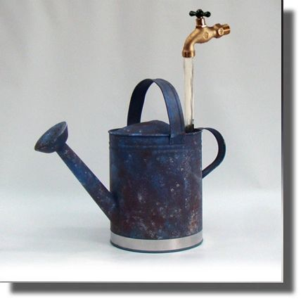 Reclaimed - Hand Painted Faux Patina Watering Can Fountain