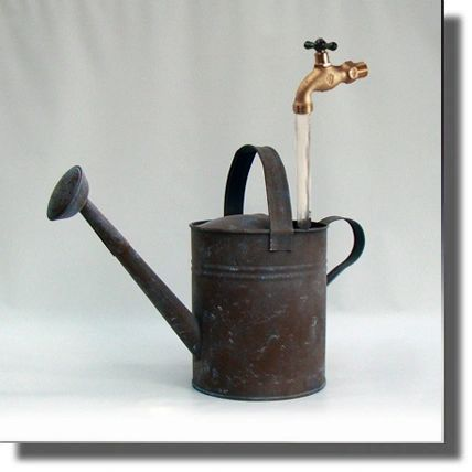 Reclaimed - Hand Painted Faux Light Blue Patina Watering Can Fountain