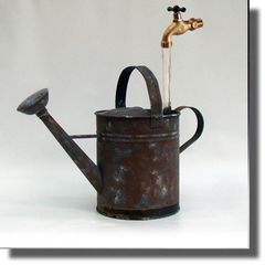 Reclaimed - Hand Painted Faux Rust Watering Can Fountain