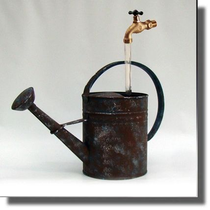 Hand Painted Faux Rust Watering Can Fountain