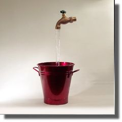 Candy Apple Red Bucket Floating Faucet Fountain