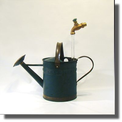 Reclaimed Vintage Green with Brass Watering Can Fountain