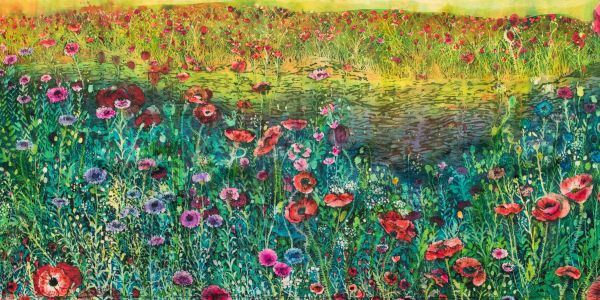 A field of cheerful, bright red poppies announce warmer weather on this batik.