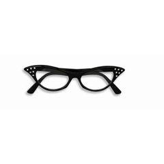 50'S RHINESTONE GLASSES-BLACK W/CLEAR LENSES - Item #62059