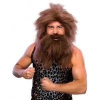 Brown Pre - Historic Beard & Wig Set Item# 50821 (R)
