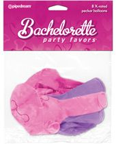 Bachelorette Party Favors X-Rated Pecker Balloons - Asst. Colors Pack of 8