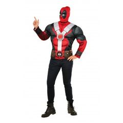 Muscle Chest Adult Deadpool Costume Top and Mask