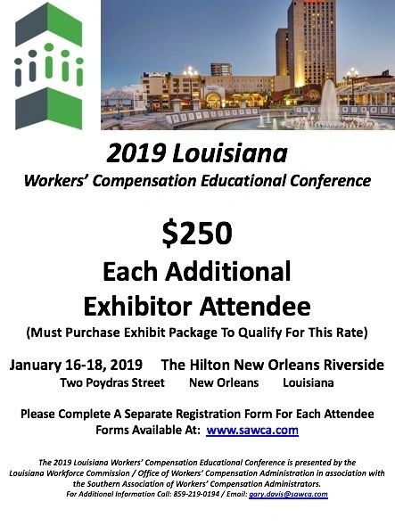 2019 Louisiana WCEC Each Additional Exhibitor Attendee