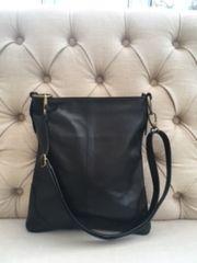 Italian Leather Crossbody Bag - Black L102